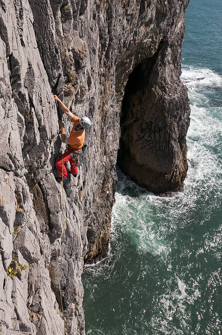 Climbing at Bosherton Head, Pembroke
